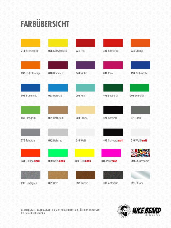 Startnummern Farbübersicht