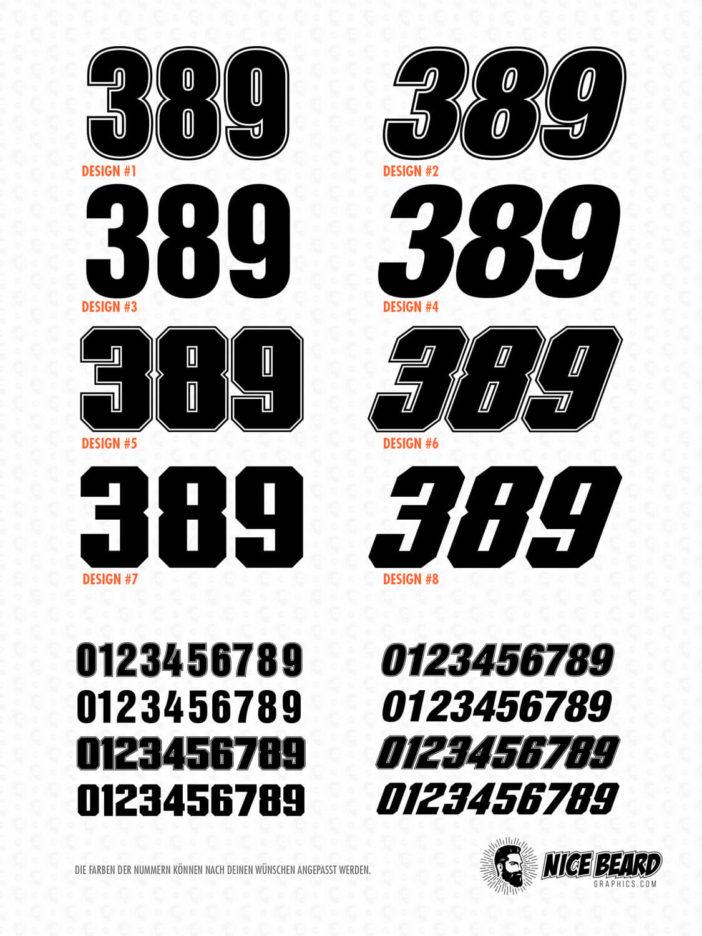 Startnummern Design Auswahl