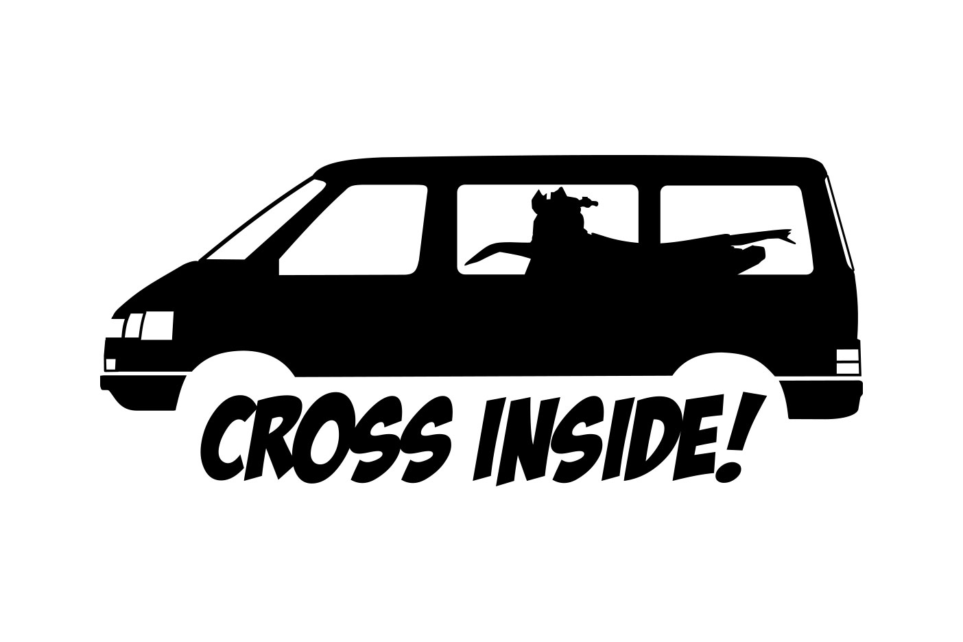 """Aufkleber mit dem Schriftzug """"Cross Inside"""" und einem VW T4"""