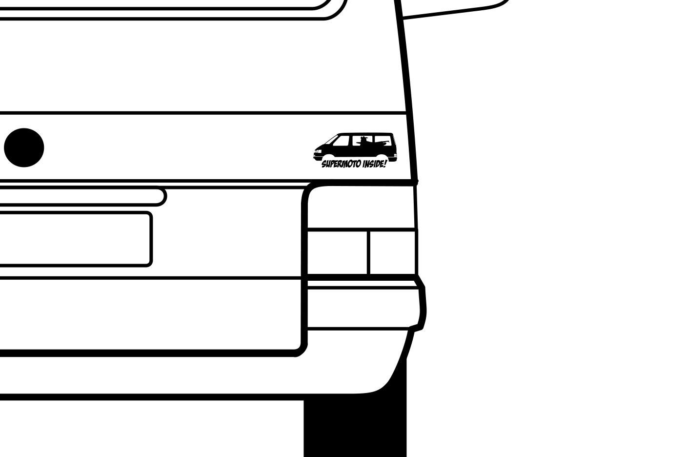 """Aufkleber mit dem Schriftzug """"Supermoto Inside"""" und einem VW T4"""