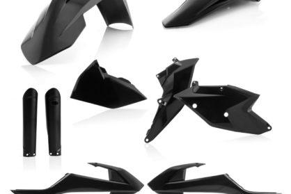 Plastikteile für deine KTM EXC und EXC-F in schwarz. Bestehend aus Frontkotflügel, Heckkotflügel, Tankspoiler, Seitenteilen und Gabelschoner