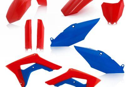 Plastikteile für deine Honda CRF in rot / blau, bestehend aus Frontkotflügel, Heckkotflügel, Tankspoiler, Gabelschoner und Nummerntafeln