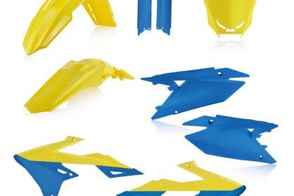 Plastikteile für deine Suzuki RMZ in gelb / blau, bestehend aus Frontkotflügel, Heckkotflügel, Tankspoiler, Gabelschoner und Nummerntafeln