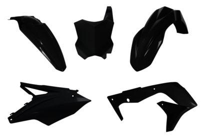 R-Tech Plastik-Kit Komplett / schwarz Kawasaki