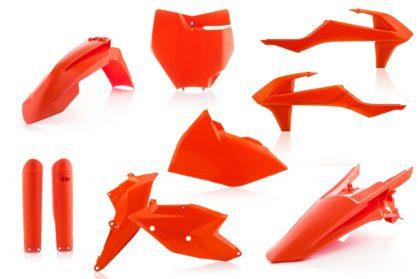 Plastikteile für deine KTM SX und SXF in den OEM-Farben von 2016 bzw. orange. Bestehend aus Frontkotflügel, Heckkotflügel, Tankspoiler, Seitenteilen, Gabelschoner und Front-Tafel