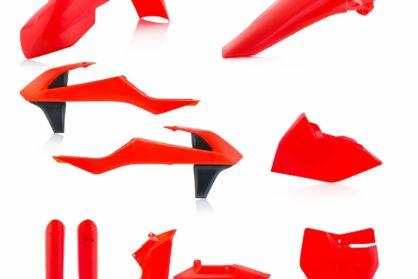 Plastikteile für deine KTM SX und SXF in neon-orange. Bestehend aus Frontkotflügel, Heckkotflügel, Tankspoiler, Seitenteilen, Gabelschoner und Front-Tafel