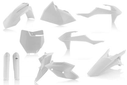Plastikteile für deine KTM SX und SXF in weiß. Bestehend aus Frontkotflügel, Heckkotflügel, Tankspoiler, Seitenteilen, Gabelschoner und Front-Tafel