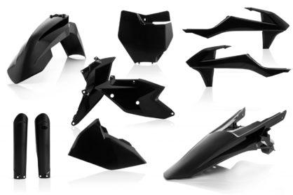 Plastikteile für deine KTM SX und SXF in schwarz. Bestehend aus Frontkotflügel, Heckkotflügel, Tankspoiler, Seitenteilen, Gabelschoner und Front-Tafel