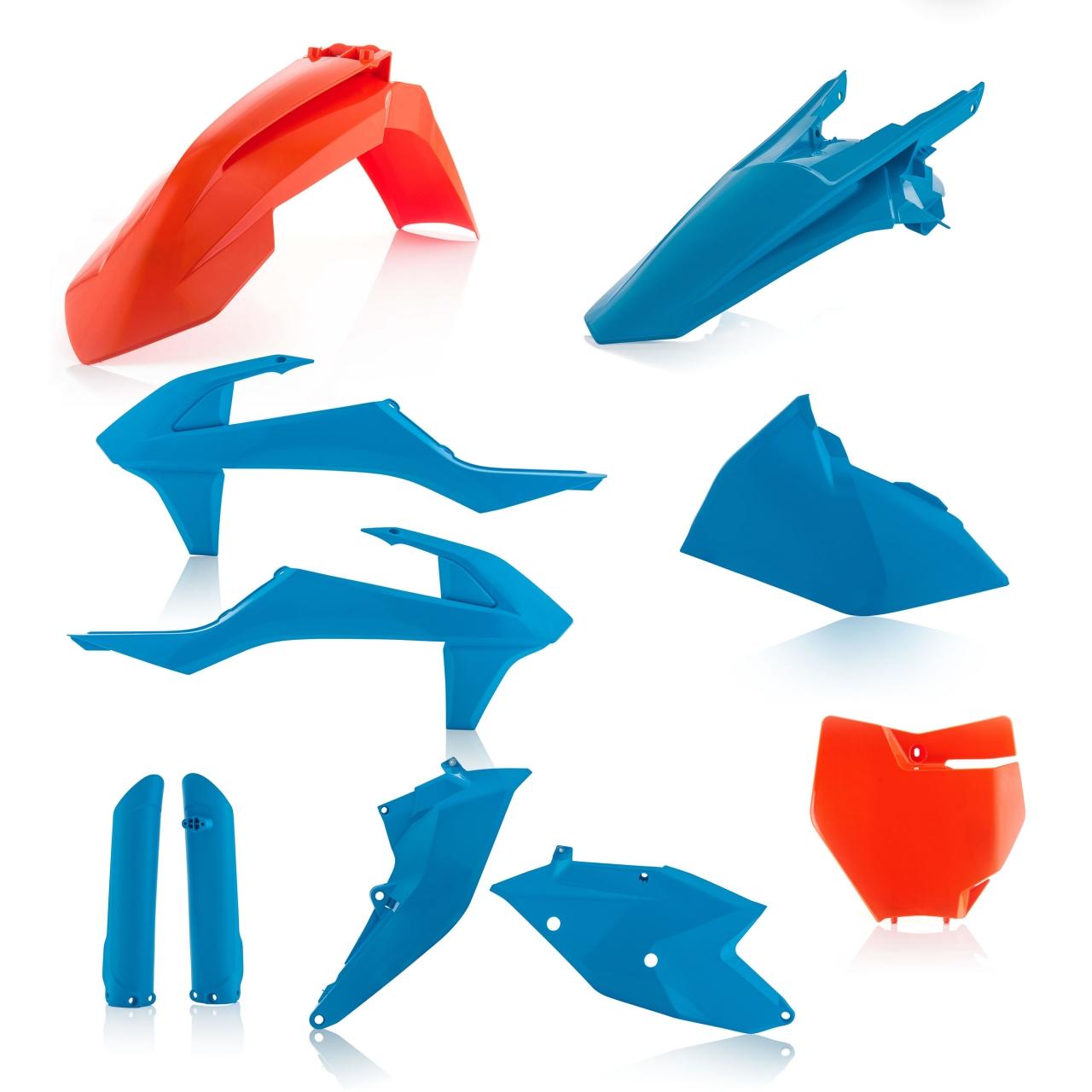 Plastikteile für deine KTM SX und SXF in den TLD-Farben als Limited Edition bzw. blau/orange. Bestehend aus Frontkotflügel, Heckkotflügel, Tankspoiler, Seitenteilen, Gabelschoner und Front-Tafel