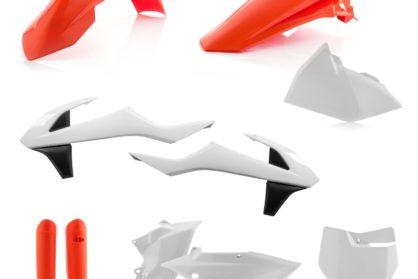 Plastikteile für deine KTM SX und SXF in den OEM-Farben von 2016 bzw. weiss/orange. Bestehend aus Frontkotflügel, Heckkotflügel, Tankspoiler, Seitenteilen, Gabelschoner und Front-Tafel