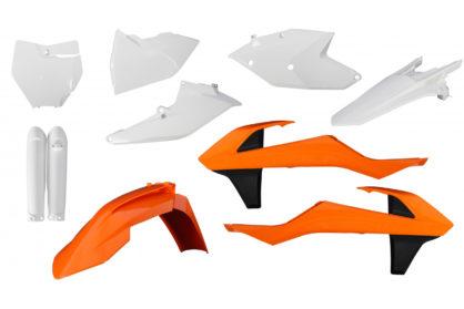 Plastikteile für deine KTM SX und SXF in den Replika-Farben von 2016 bzw. orange/weiss. Bestehend aus Frontkotflügel, Heckkotflügel, Tankspoiler, Seitenteilen, Gabelschoner und Front-Tafel