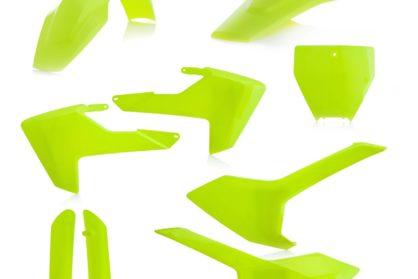 Plastikteile für deine Husqvarna FC und TC in neon gelb, bestehend aus Frontkotflügel, Heckkotflügel, Tankspoiler, Seitenteilen, Front-Tafel und Gabelschoner