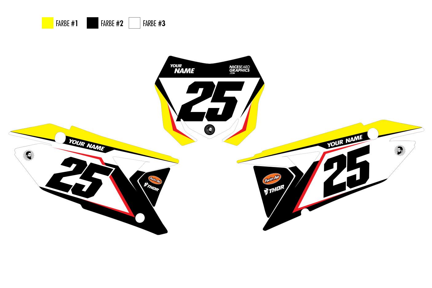 Suzuki Traction Nummerntafelset in gelb, schwarz und weiß