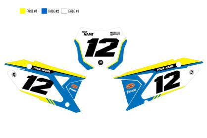Suzuki Fast Nummerntafelset in gelb, blau und weiß