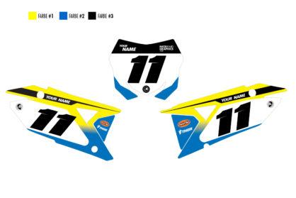 Suzuki Grip Nummerntafelset in gelb, blau und schwarz