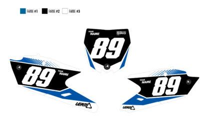 Yamaha Sliced Nummerntafelset in blau, schwarz und weiß