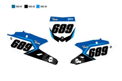 Yamaha Nice Nummerntafelset in blau, schwarz und hellblau