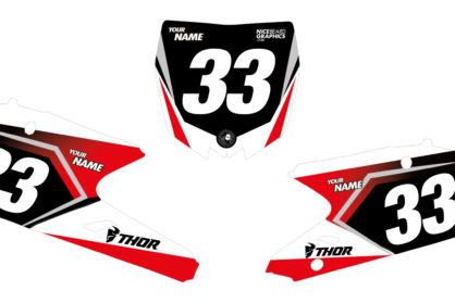 Yamaha Fire Nummerntafelset in rot, schwarz und weiß