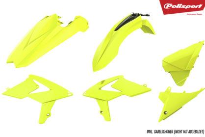 Plastikteile für deine Beta RR in neon-gelb, bestehend aus Frontkotflügel, Heckkotflügel, Tankspoiler, Seitenteilen und Gabelschoner