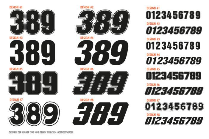 Startnummern Design-Auswahl