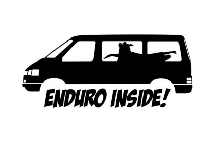 """Aufkleber mit dem Schriftzug """"Enduro Inside"""" und einem VW T4"""