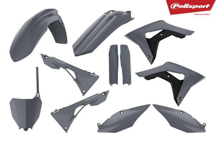 Plastikteile für deine Honda CRF in grau, bestehend aus Frontkotflügel, Heckkotflügel, Tankspoiler, Gabelschoner, Seitenteile, Nummerntafeln und Front-Nummerntafel