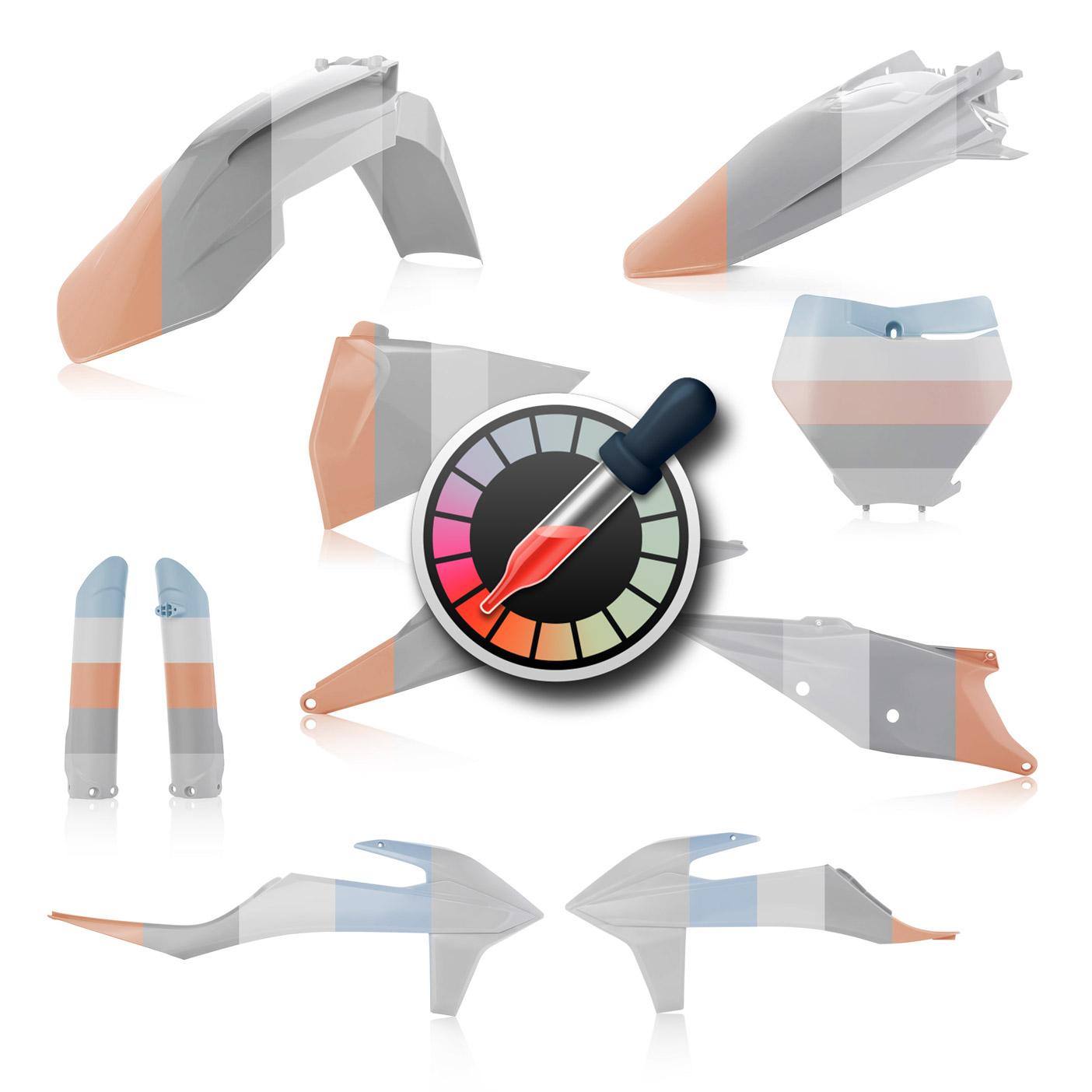 Plastikteile für KTM SX und SXF in deinen Wunschfarben, bestehend aus Frontkotflügel, Heckkotflügel, Tankspoiler, Gabelschoner, Nummerntafeln und Front-Nummerntafel