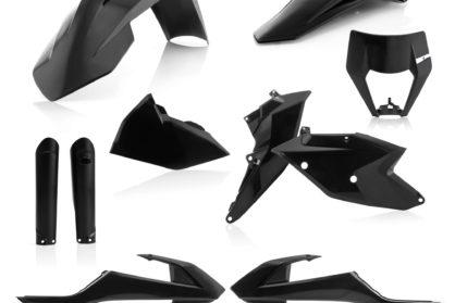 Plastikteile für deine KTM EXC und EXC-F in schwarz. Bestehend aus Frontkotflügel, Heckkotflügel, Tankspoiler, Seitenteilen, Gabelschoner und Lampenmaske