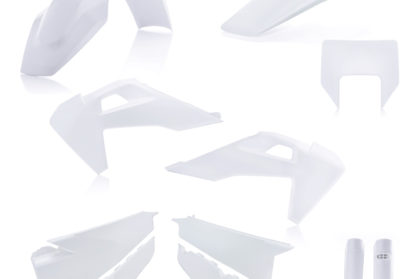 Plastikteile für deine Husqvarna FE und TE in weiß, bestehend aus Frontkotflügel, Heckkotflügel, Tankspoiler, Seitenteilen, Lampenmaske und Gabelschoner