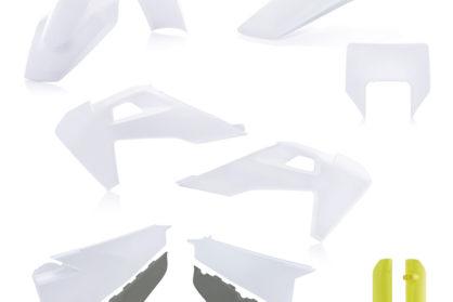 Plastikteile für deine Husqvarna FE und TE in OEM-Farben, bestehend aus Frontkotflügel, Heckkotflügel, Tankspoiler, Seitenteilen, Lampenmaske und Gabelschoner