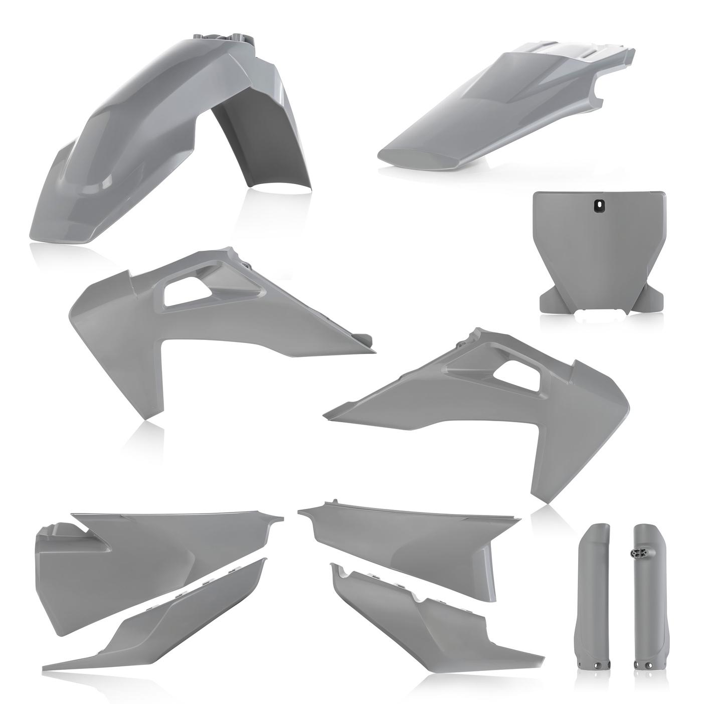 Plastikteile für deine Husqvarna FC und TC in grau, bestehend aus Frontkotflügel, Heckkotflügel, Tankspoiler, Seitenteilen, Front-Tafel und Gabelschoner