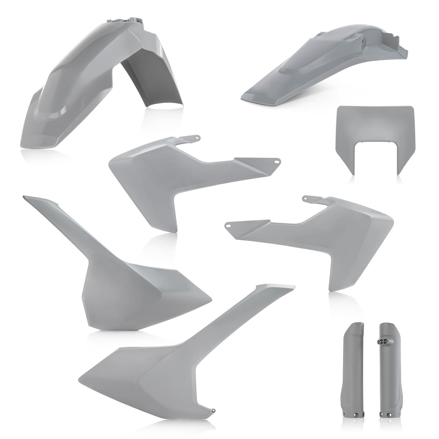 Plastikteile für deine Husqvarna FE und TE in grau, bestehend aus Frontkotflügel, Heckkotflügel, Tankspoiler, Seitenteilen, Lampenmaske und Gabelschoner