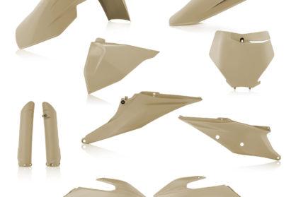 Plastikteile für deine KTM SX und SXF in sand, bestehend aus Frontkotflügel, Heckkotflügel, Tankspoiler, Gabelschoner, Nummerntafeln und Front-Nummerntafel