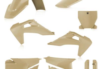 Plastikteile für deine Husqvarna FC und TC in sand, bestehend aus Frontkotflügel, Heckkotflügel, Tankspoiler, Seitenteilen, Front-Maske und Gabelschoner