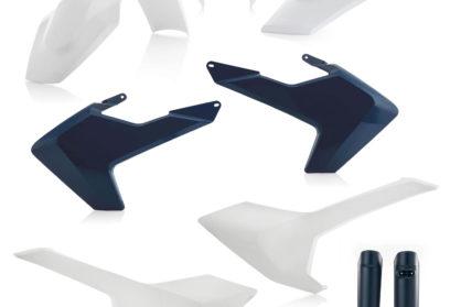 Plastikteile für deine Husqvarna FE und TE in OEM17, bestehend aus Frontkotflügel, Heckkotflügel, Tankspoiler, Seitenteilen, Lampenmaske und Gabelschoner