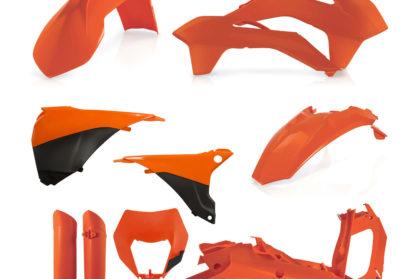 Plastikteile für deine KTM EXC und EXC-F in orange. Bestehend aus Frontkotflügel, Heckkotflügel, Tankspoiler, Nummerntafel, Seitenteilen, Gabelschoner und Lampenmaske
