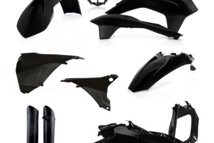 Plastikteile für deine KTM EXC und EXC-F in schwarz. Bestehend aus Frontkotflügel, Heckkotflügel, Tankspoiler, Nummerntafel, Seitenteilen, Gabelschoner und Lampenmaske