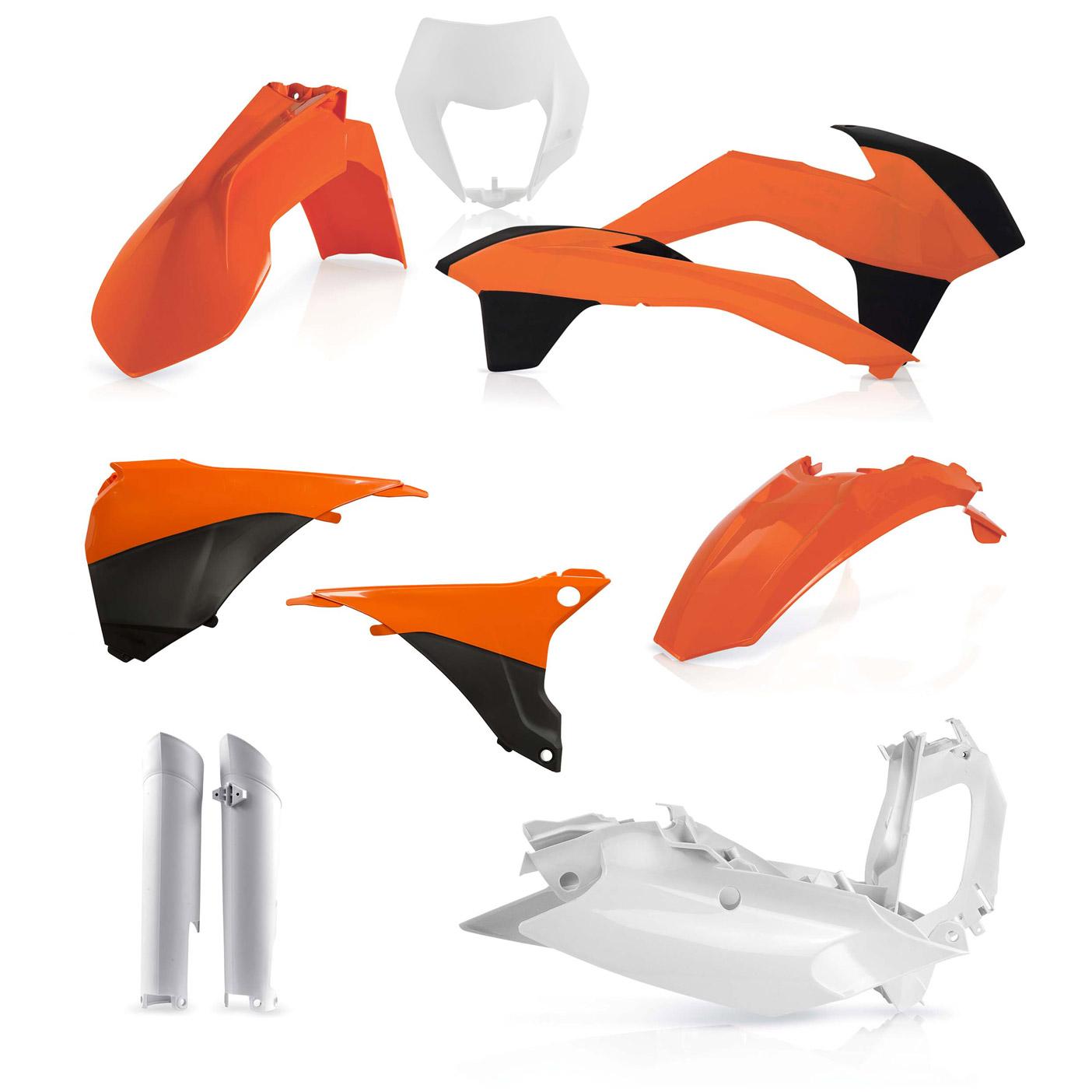 Plastikteile für deine KTM EXC und EXC-F in OEM14. Bestehend aus Frontkotflügel, Heckkotflügel, Tankspoiler, Nummerntafel, Seitenteilen, Gabelschoner und Lampenmaske