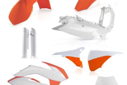 Plastikteile für deine KTM EXC und EXC-F in OEM15. Bestehend aus Frontkotflügel, Heckkotflügel, Tankspoiler, Nummerntafel, Seitenteilen, Gabelschoner und Lampenmaske