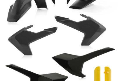 Plastikteile für deine Husqvarna FE und TE in schwarz und gelb, bestehend aus Frontkotflügel, Heckkotflügel, Tankspoiler, Seitenteilen, Lampenmaske und Gabelschoner