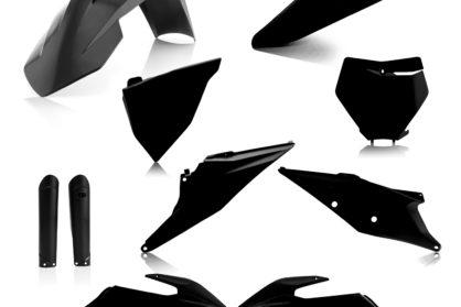 Plastikteile für deine KTM SX und SXF in schwarz, bestehend aus Frontkotflügel, Heckkotflügel, Tankspoiler, Gabelschoner, Nummerntafeln und Front-Nummerntafel