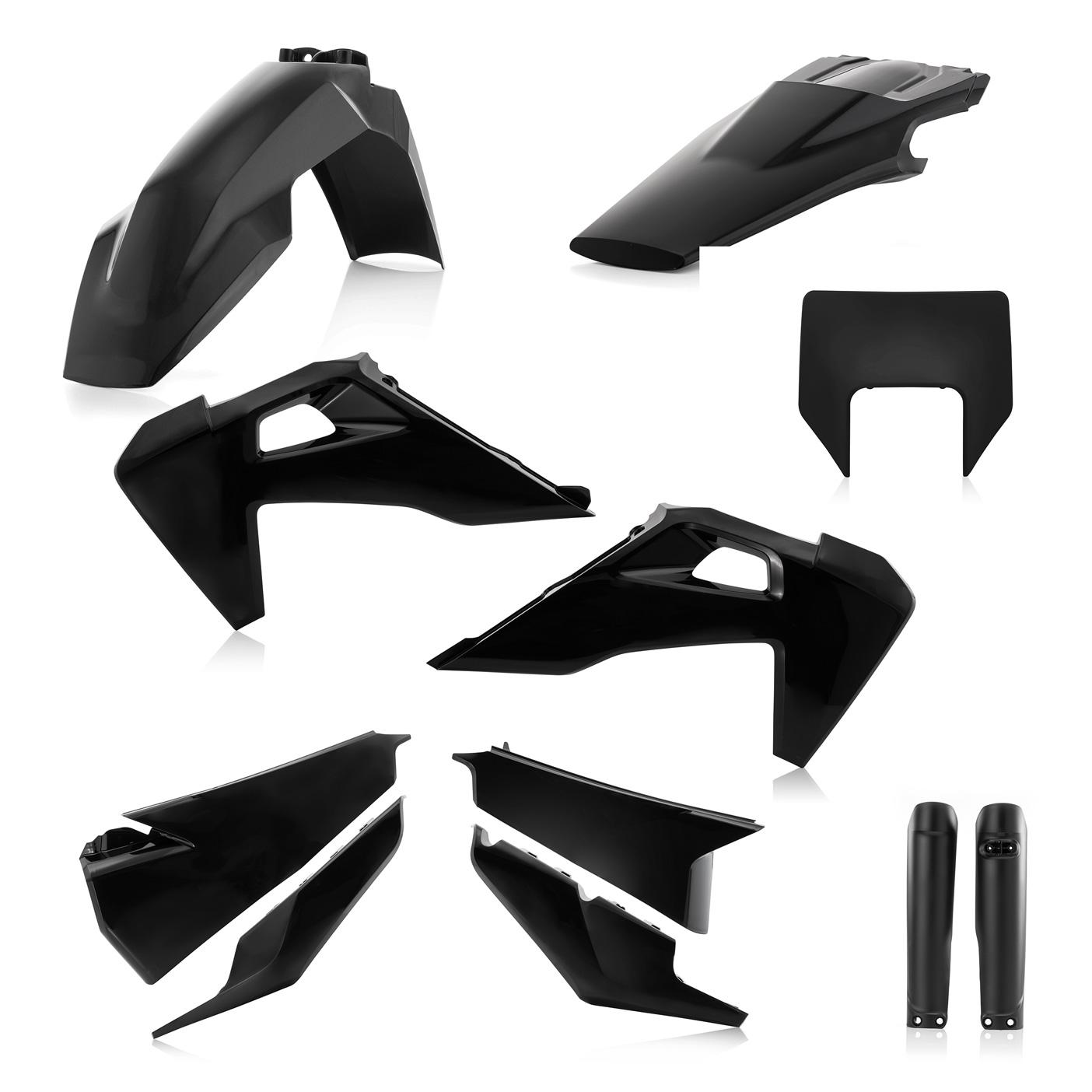 Plastikteile für deine Husqvarna FE und TE in schwarz, bestehend aus Frontkotflügel, Heckkotflügel, Tankspoiler, Seitenteilen, Lampenmaske und Gabelschoner