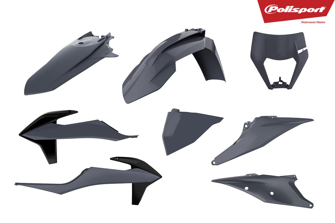 Plastikteile für deine KTM EXC und EXC-F in grau, bestehend aus Frontkotflügel, Heckkotflügel, Tankspoiler, Gabelschoner, Nummerntafeln und Lampenmaske