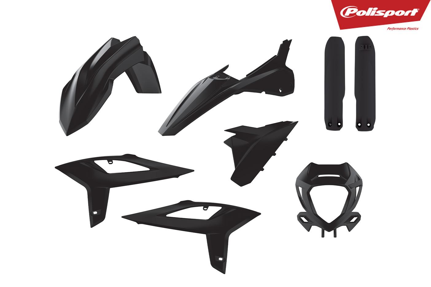 Plastikteile für deine Beta RR in schwarz, bestehend aus Frontkotflügel, Heckkotflügel, Tankspoiler, Gabelschoner, Lampenmaske und Seitenteilen