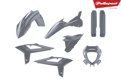 Plastikteile für deine Beta RR in grau, bestehend aus Frontkotflügel, Heckkotflügel, Tankspoiler, Gabelschoner, Lampenmaske und Seitenteilen