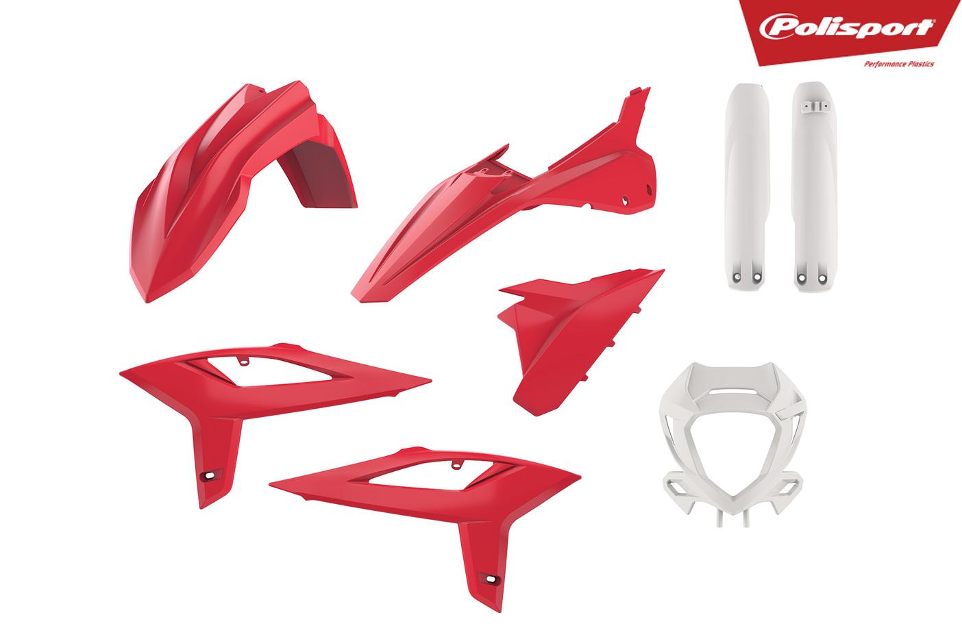 Plastikteile für deine Beta RR in rot / weiss, bestehend aus Frontkotflügel, Heckkotflügel, Tankspoiler, Gabelschoner, Lampenmaske und Seitenteilen