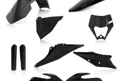 Plastikteile für deine KTM EXC und EXC-F in schwarz, bestehend aus Frontkotflügel, Heckkotflügel, Tankspoiler, Gabelschoner, Nummerntafeln und Lampenmaske