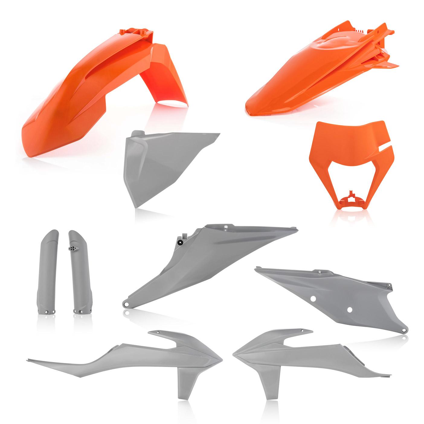 Plastikteile für deine KTM EXC und EXC-F in grau-orange, bestehend aus Frontkotflügel, Heckkotflügel, Tankspoiler, Gabelschoner, Nummerntafeln und Lampenmaske