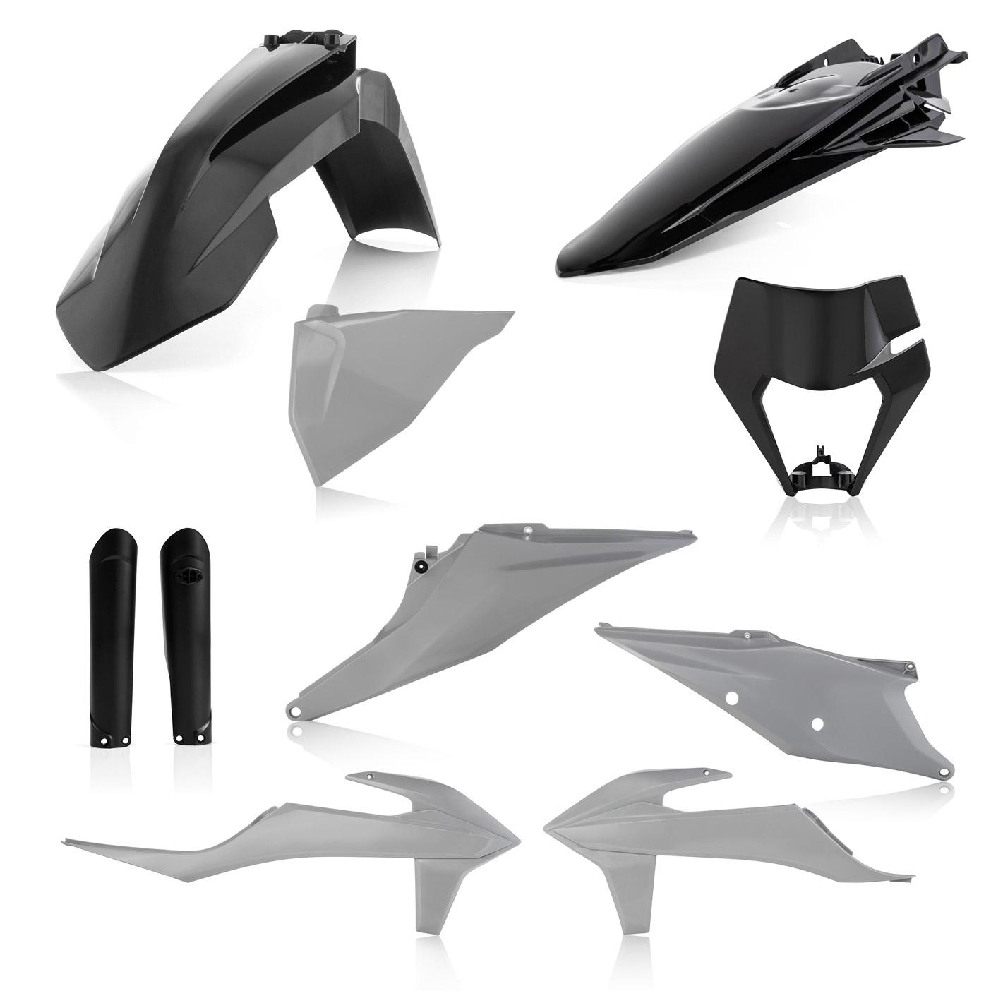 Plastikteile für deine KTM EXC und EXC-F in grau-schwarz, bestehend aus Frontkotflügel, Heckkotflügel, Tankspoiler, Gabelschoner, Nummerntafeln und Lampenmaske