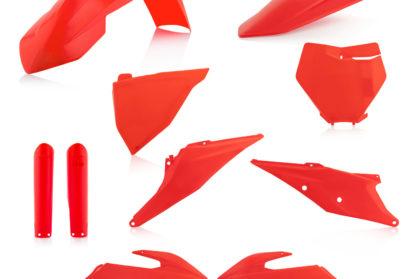 Plastikteile für deine KTM SX und SXF in neon-orange, bestehend aus Frontkotflügel, Heckkotflügel, Tankspoiler, Gabelschoner, Nummerntafeln und Front-Nummerntafel